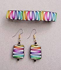 Rainbow  Color Gradations Barette and Earrings