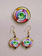 Rainbow Spiral Pin and Earrings
