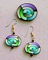 Purple/Blue/Green Spiral Pin and Earrings