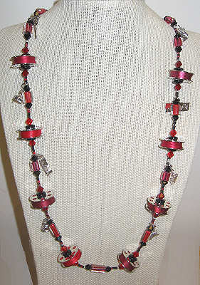 Red Bobbin Necklace